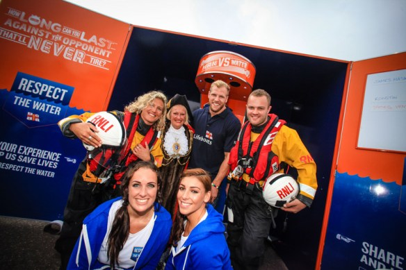 Pictured L-R Back - Virginia Billcliff (RNLI Volunteer), Denise Cobb (Brighton and Hove Mayor), James Haskell (Wasps and England Rugby Player) and Dan Gurr (RNLI Volunteer).